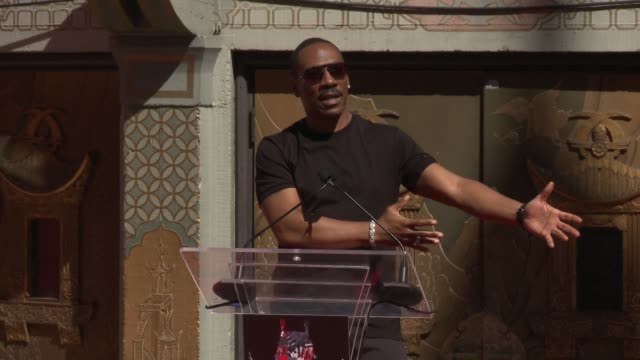 speech eddie murphy at jeffrey katzenberg to place handprints footprints in cement at tcl chinese theatre imax on september 29 2016 in hollywood... - eddie murphy stock videos & royalty-free footage