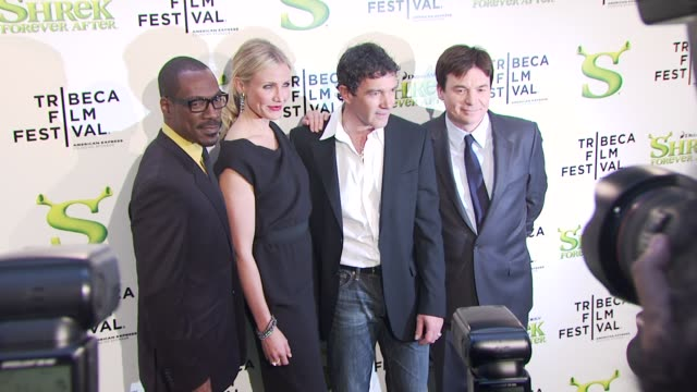 Eddie Murphy Cameron Diaz Antonio Banderas and Mike Myers at the 'Shrek Forever After' Opening Night Premiere 9th Annual Tribeca Film Fest at New...