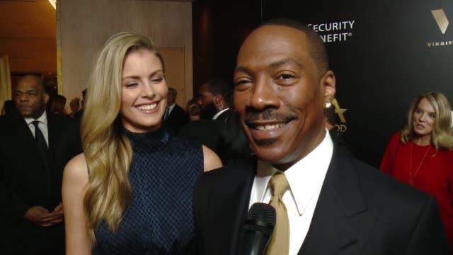 interview eddie murphy on being honored on what it means to him on being at the show on anyone he's looking forward to seeing on the kick off to... - eddie murphy stock videos & royalty-free footage