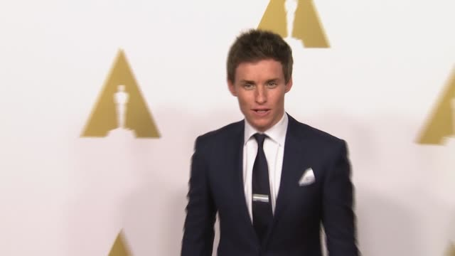 eddie redmayne at 87th annual academy awards nominee luncheon - reception at the beverly hilton hotel on february 02, 2015 in beverly hills,... - the beverly hilton hotel stock videos & royalty-free footage