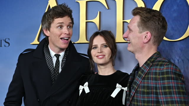 """eddie redmayne, felicity jones & tom harper at """"the aeronauts"""" new york premiere at sva theater on december 04, 2019 in new york city. - arts culture and entertainment stock videos & royalty-free footage"""