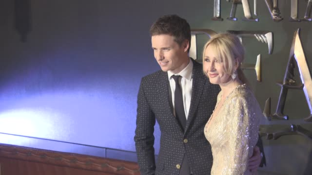 eddie redmayne jk rowling at 'fantastic beasts and where to find them' european premiere at odeon leicester square on november 13 2016 in london... - j.k. rowling stock videos and b-roll footage