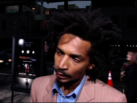 eddie steeple on his character in the film at the 'akeelah and the bee' los angeles premiere at academy of motion picture arts & sciences in beverly... - academy of motion picture arts and sciences video stock e b–roll