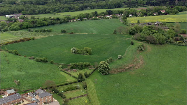 eddisbury hill fort  - aerial view - england, cheshire, delamere, united kingdom - cheshire england stock videos & royalty-free footage