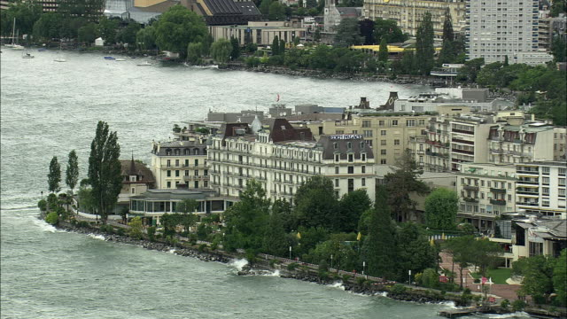 aerial eden palace hotel at lake geneva, montreux, vaud, switzerland - montreux stock videos and b-roll footage