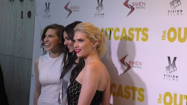 Eden Sher Victoria Justice Claudia Lee at the Premiere Of Swen Group's 'The Outcasts' on April 13 2017 in Los Angeles California