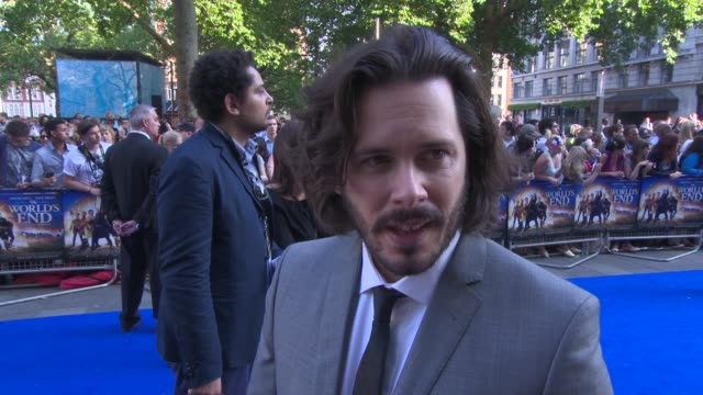 edgar wright on the chemistry with simon pegg and nick frost, the film at 'the world's end' world premiere at empire leicester square on july 10,... - the world's end stock videos & royalty-free footage
