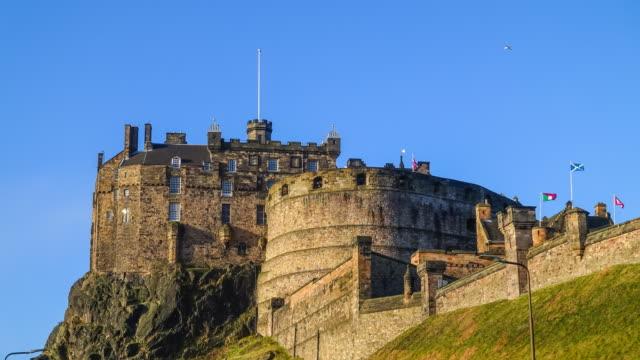 edinburgh castle in scotland uk - edinburgh castle stock videos & royalty-free footage