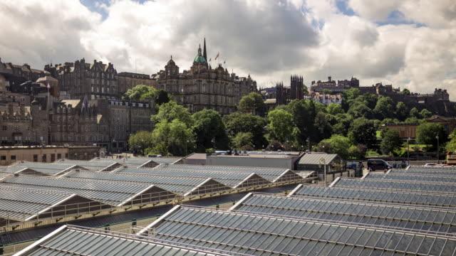 Edinburgh Castle Over Waverley Station Roof - Time Lapse