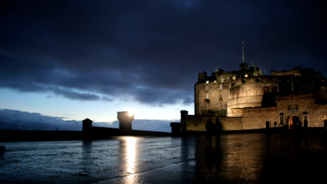 edinburgh castle time lapse - digital composite stock videos and b-roll footage