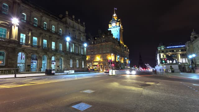 edinburgh city centre in timelapse motion - clock tower stock videos & royalty-free footage