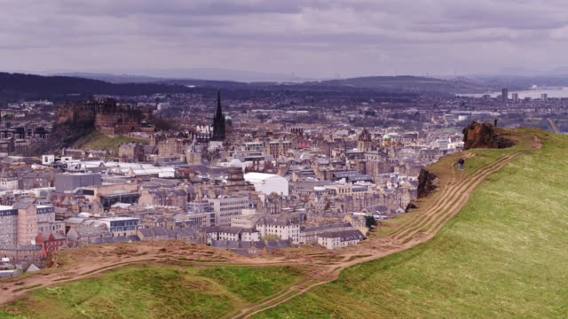 edinburgh cityscape from the air - edinburgh scotland stock videos & royalty-free footage