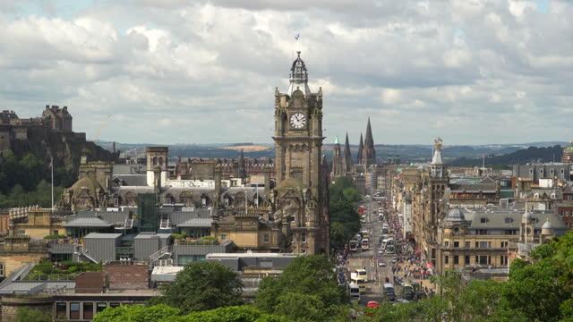 edinburgh cityscape in a morning, scotland uk - clock tower stock videos & royalty-free footage