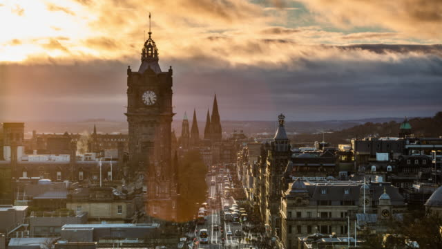 edinburgh cityscape in scotland, uk - time lapse - edinburgh scotland stock videos & royalty-free footage