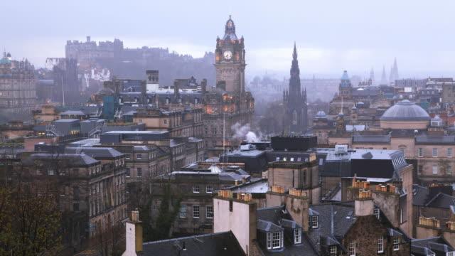 Edinburgh Stadt Zeitraffer bei Dämmerung