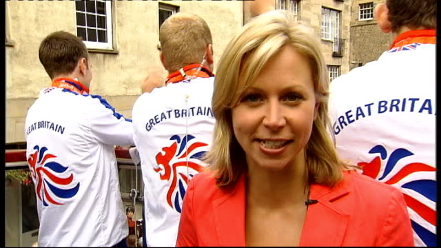 bagpipe music heard during following shots sot * * various of chris hoy along on open-top bus victory parade with fellow scottish medallists... - hoy stock videos & royalty-free footage
