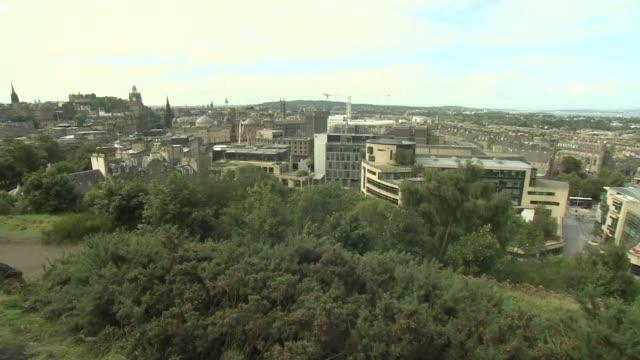Edinburgh EXT Edinburgh skylines showing Edinburgh Castle Royal Mile Arthur's Seat Scottish Parliament / GVs Scottish parliament buildings