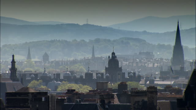 edinburgh rooftop shots - edinburgh scotland stock videos & royalty-free footage