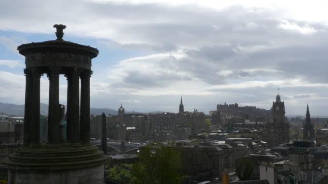 T/L WS Edinburgh, Scotland skyline, as seen from Calton Hill, Dugald Stewart Monument in foreground