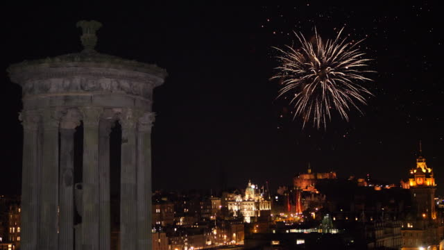4K: Edinburgh, Scotland Skyline with Fireworks in the sky