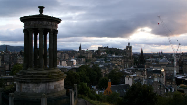 ws edinburgh skyline from calton hill - clock tower stock videos & royalty-free footage