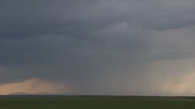 Edited sequence of 4 forked and branched lightning bolts under base of thunderstorm. Bright lightning during day time.