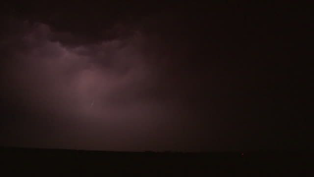 Edited sequence of amazing very spectacular forked and branched bolts of lightning under supercell thunderstorm at night.