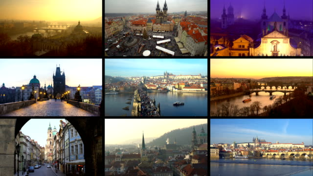 stockvideo's en b-roll-footage met montage praag - collage