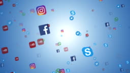 Editorial animation: flying banners of the most popular social media in the world, such as facebook, instagram, youtube, skype, twitter and others. On a white blue background.