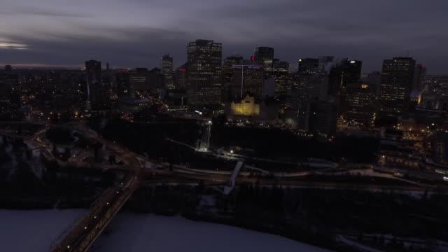 edmonton skyline at night - edmonton stock videos and b-roll footage