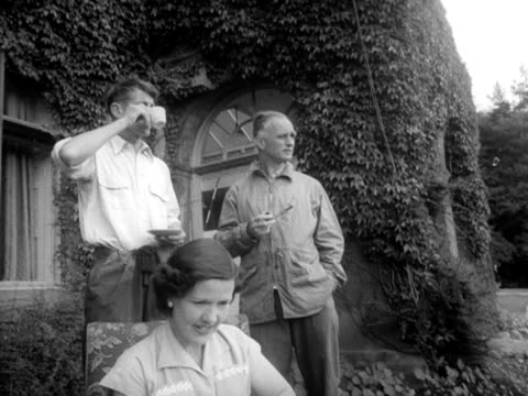 Edmund Hillary chats to Eric Shipton at the outward bound mountain school in the Lake District