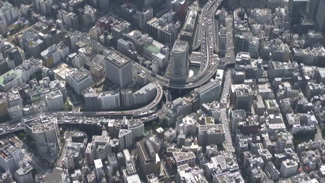 aerial, edobashi junction in nihonbashi, tokyo, japan - tokyo japan stock videos & royalty-free footage