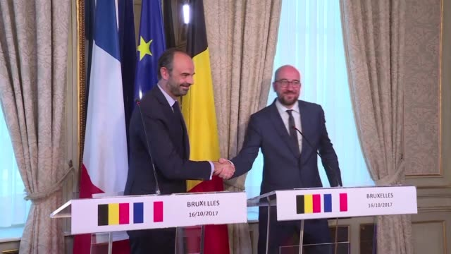 Edouard Philippe Prime Minister of France and Belgian Prime Minister Charles Michel met in Brussels to discuss bilateral issues