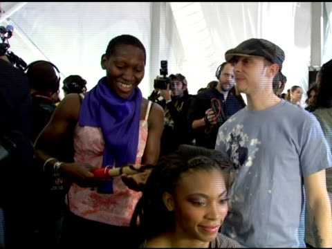 edris nicholls, head hair stylist, on the craziness backstage, her look for the fashion show, working with tracy reese and using garnier products at... - オリンパスファッションウィーク点の映像素材/bロール