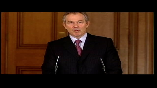 education bill reforms passed with opposition support; lib number ten downing street: int prime minister tony blair press conference sot - i think... - mp点の映像素材/bロール