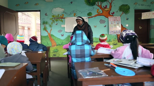 education by nuns at orphanage karuna bhawan, where many hiv infected children live karuna bhawan is supported by jesuit mission of germany audio /... - レトロウィルス点の映像素材/bロール