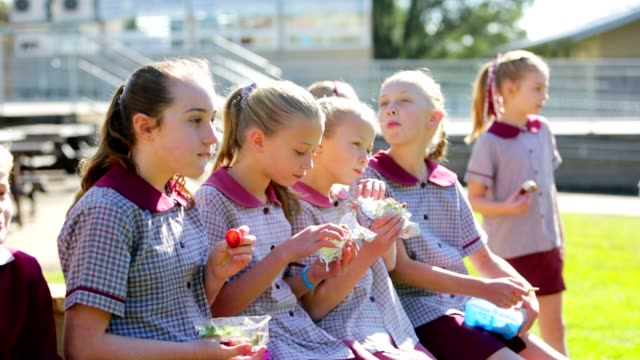 education children eating healthy lunch at school - uniform stock videos & royalty-free footage