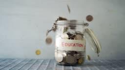 Education concept money jar