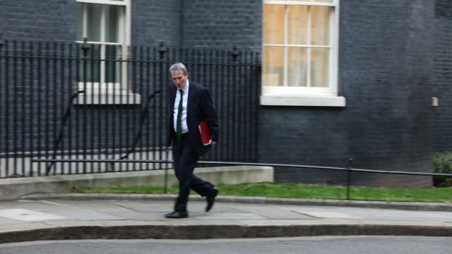 education secretary damian hinds arrives as government ministers attend the first cabinet meeting of the year at 10 downing street on january 9 2018... - damian hinds stock videos and b-roll footage