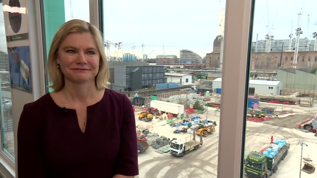 Education Secretary Justine Greening visits Thames Tideway Tunnel project Education Secretary Justine Greening chatting with apprentices SOT / INT...