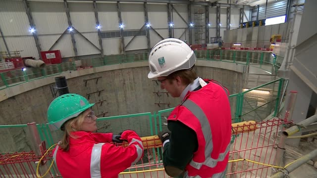 Education Secretary Justine Greening visits Thames Tideway Tunnel project ENGLAND London INT Various of Justine Greening MP visiting the Thames...