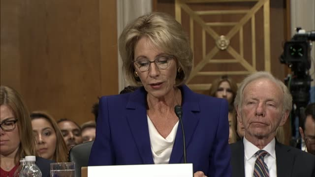 education secretary nominee betsy devos of michigan reads her prepared remarks that are nomination hearing emphasizes her stance that parents make... - nomination stock videos & royalty-free footage