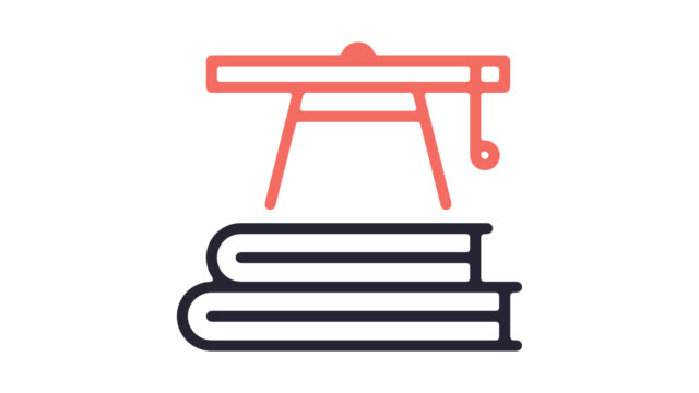 educational research line icon animation with alpha - stem stock videos & royalty-free footage
