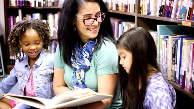 Education.Librarian reads book to elementary students in library or classroom.