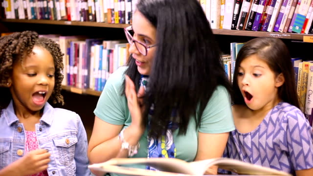education.librarian reads book to elementary students in library or classroom. - elementary student stock videos & royalty-free footage