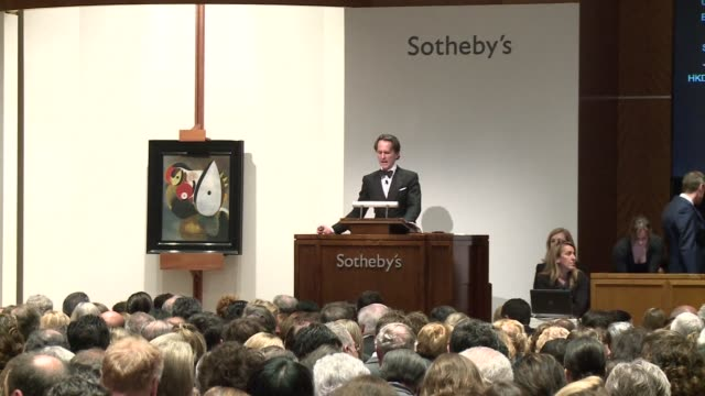 vídeos y material grabado en eventos de stock de edvard munch's iconic work 'the scream' sold for $199 million at sotheby's impressionist and modern evening sale in new york a record for a work of... - subasta