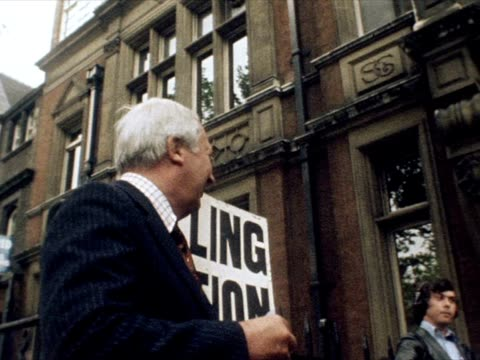 edward heath arrives at a polling station to vote in the eec referendum. - referendum stock videos & royalty-free footage