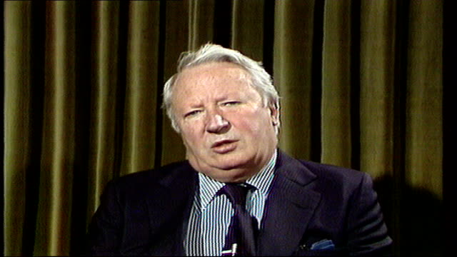 edward heath interview; england london westminster studio cms edward heath sof: ''yes it is....................get at'' video westminster vtr archive... - エドワード ヒース点の映像素材/bロール