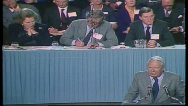 edward heath profile; tx 14.10.81 itn tory conference 1981 - heath speech on party unity, rising unemployment, heckled, thatcher present - エドワード ヒース点の映像素材/bロール