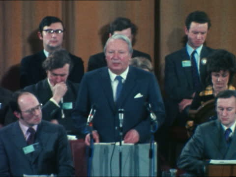 edward heath mp speech excerpt sot - the home secretary has for months past done his utmost to promote talks with the various parties in northern... - itv evening bulletin stock videos & royalty-free footage